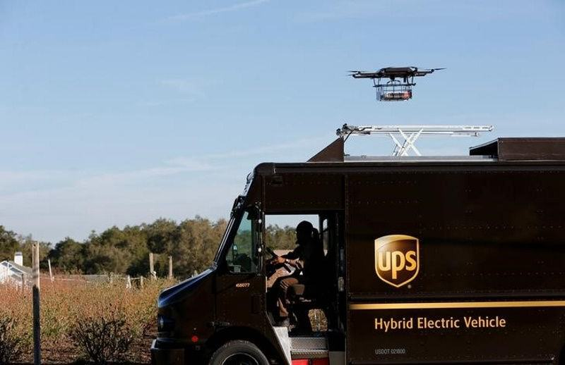 Delivery drone taking off from UPS truck