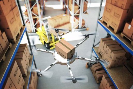 Drone operating in a warehouse