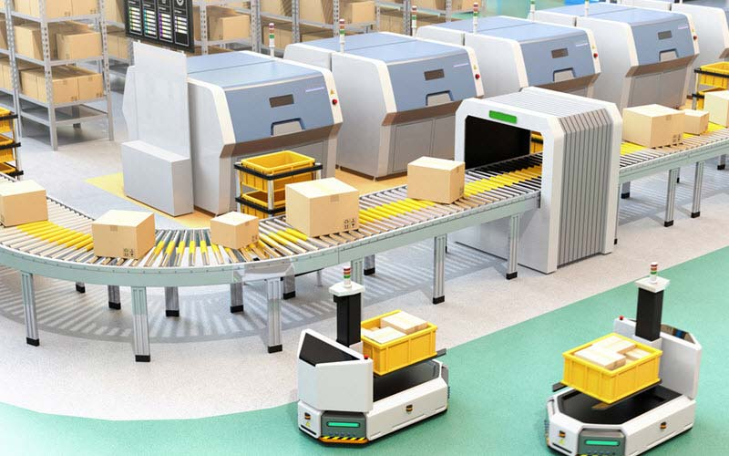 Forklift carrying boxes near to conveyor and self driving AGV (Automatic guided vehicle) - SIPMM