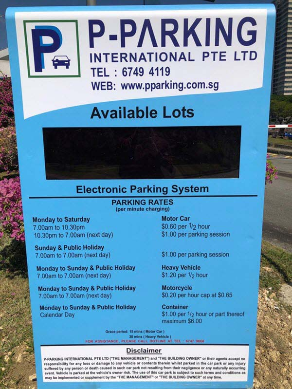Parking Rate at Trade Association Hub (TA Hub) Jurong Town Hall