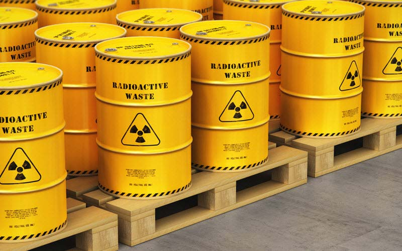 Containers contain poison dangerous hazardous radioactive materials on shipping pallets - SIPMM