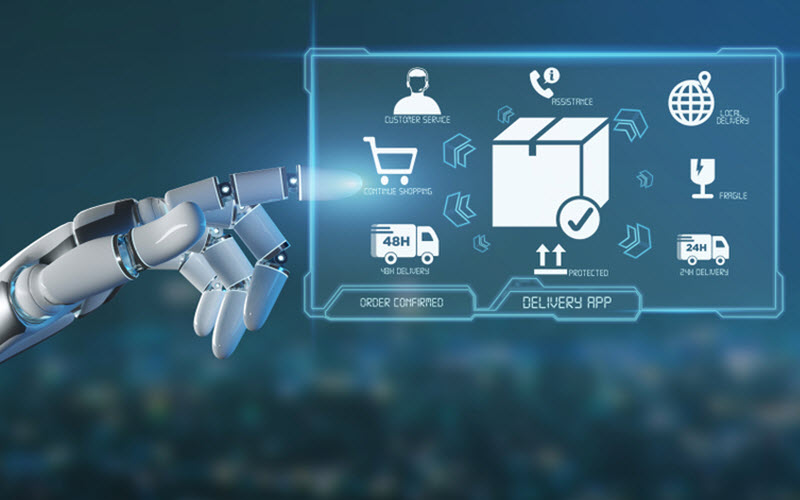 Cyborg hand operating Logistic delivery application - SIPMM