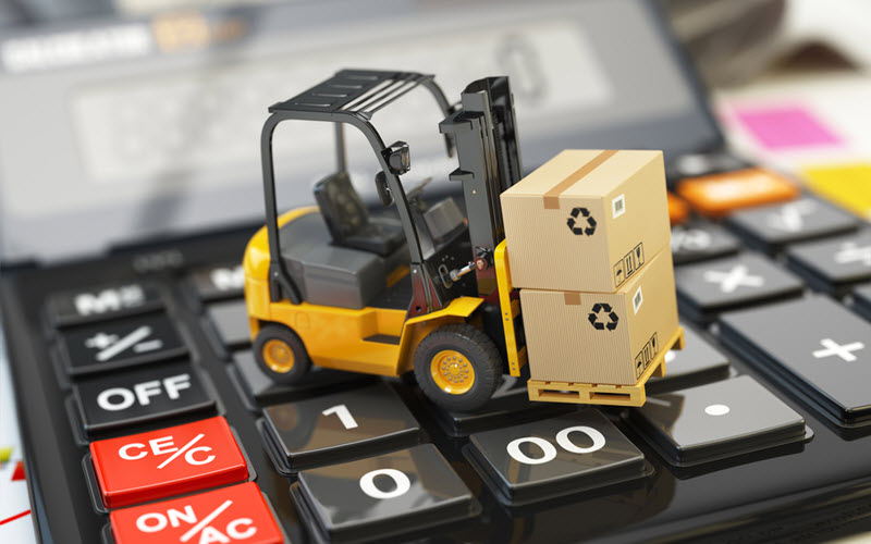Forklift with cardboxes on calculator cost effective warehousing - SIPMM