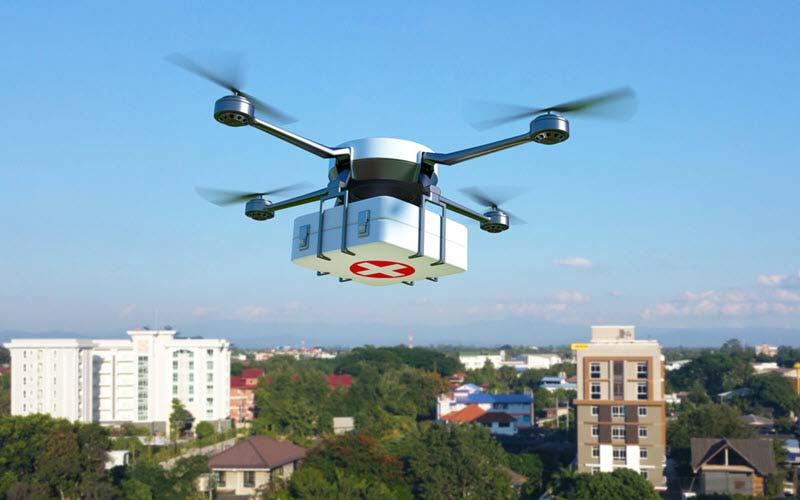 Drone delivering medical box - SIPMM