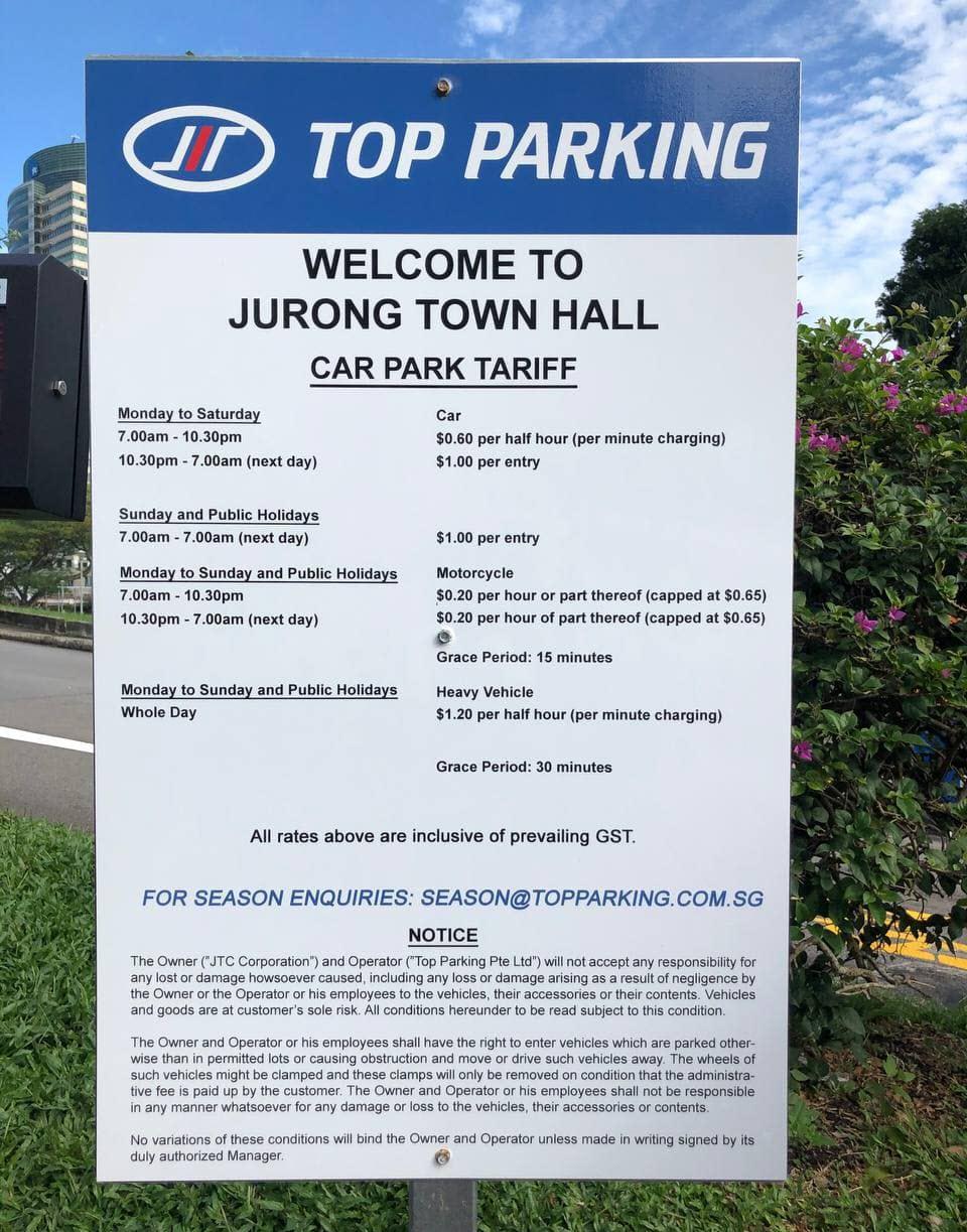 Car Park Tariff at Trade Association Hub (TA Hub) Jurong Town Hall